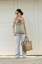 salmon Hermes scarf - camel Celine purse - periwinkle talbots pants