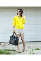 yellow J Crew sweater - navy Celine purse - beige Forever 21 shorts