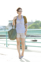 navy Manolo heels - olive green J Crew shirt - forest green old bag