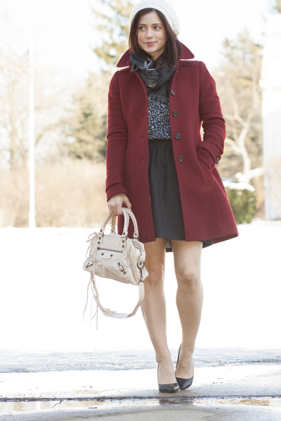 maroon J Crew coat - black Zara shoes - gray Gucci scarf