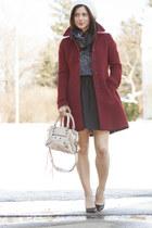 maroon J Crew coat - black Zara shoes - gray Gucci scarf