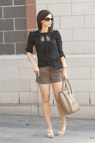 black dvf blouse - dark khaki Express shorts - nude J Crew heels