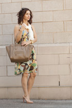 light yellow Marni dress - camel Christian Louboutin shoes
