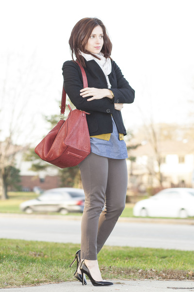 black Zara shoes - olive green J Crew sweater - black Dries Van Noten blazer