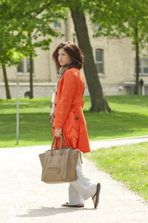 carrot orange Anthro jacket - periwinkle talbots pants