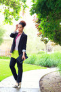 Chartreuse-lush-blouse-black-forever-21-blazer-black-boutique-find-purse