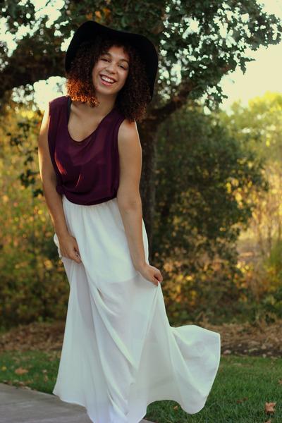 off white Lush skirt - black vintage hat - maroon Lush top