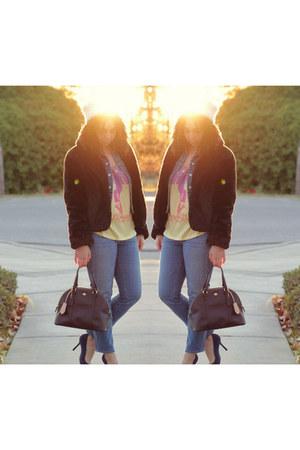black Target coat - blue Gap jeans - dark brown coach bag - yellow Junk Food top