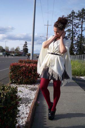white - blue Forever21 dress - red Forever 21 stockings - black Michael Kors sho