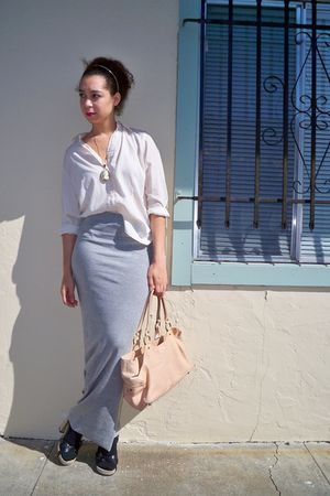white unknown blouse - silver DIY skirt - beige Anthropologie purse - black Miu