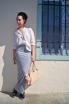white unknown blouse - silver DIY skirt - beige Anthropologie purse - black Miu