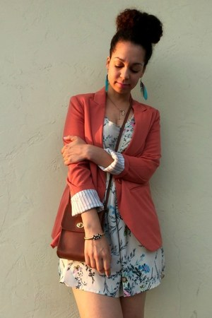 burnt orange Forever 21 blazer - cream Lush dress - brown coach bag