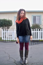 orange Forever 21 scarf - black sweater - purple Target tights - brown JCrew boo