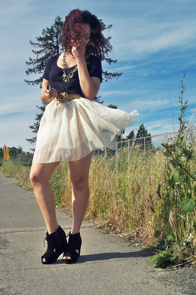 black victoria secret t-shirt - white DIY skirt - black Jeffrey Campbell shoes -
