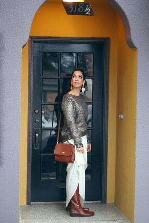 bronze Lush sweater - dark brown leather coach boots - ivory Lush skirt
