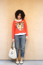 orange unknown sweater - cream Jason Wu shoes - blue Gap jeans - cream coach bag
