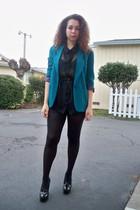 green vintage blazer - black vintage blouse - black vintage shorts - wilford tig