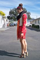 red dress - white free people top - black American Apparel scarf - orange Foreve