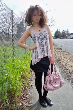 black Forever21 dress - pink Forever 21 top - blue Ralf Lauren jacket - blue