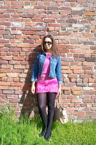 blue Ralph Lauren jacket - pink dress - black tights - beige Anthropologie bag