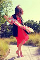 hot pink Lush dress - hot pink escada scarf - hot pink escada heels