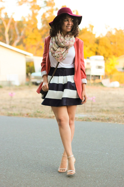 navy JCrew skirt - crimson vintage hat - burnt orange Forever 21 blazer