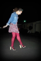 blue Polo Ralf Lauren jacket - purple H&M dress - red Forever 21 tights - beige
