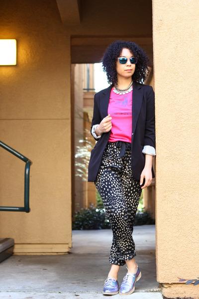 violet Miista shoes - black Forever 21 blazer - black Bar III pants