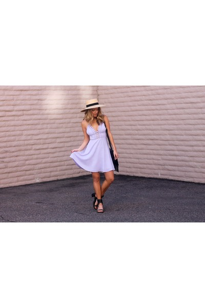 periwinkle cotton Lush dress - beige straw BP Nordstrom hat