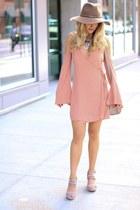 tan leather ZAC Zac Posen bag - light pink rayon Lovers & Friends dress