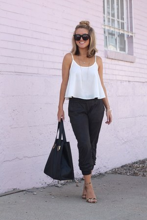 black vegan leather monrow pants - white rayon Lisakai shirt