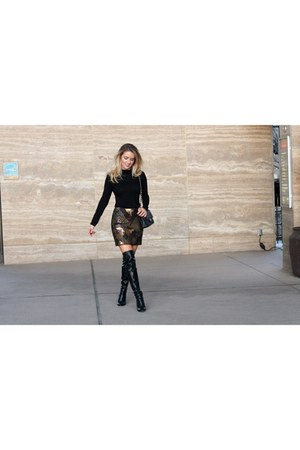 light brown Guess skirt - black leather Nasty Gal boots