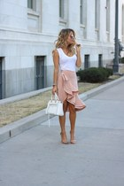 peach rayon Revolve skirt - white leather Rebecca Minkoff bag