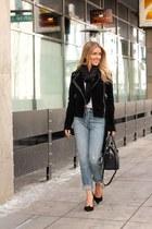 black faux leather fair child jacket - sky blue denim Levis jeans