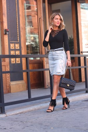 light blue denim Revolve skirt - black Express shirt - black leather Chanel bag
