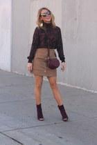 maroon leather Rebecca Minkoff bag - maroon suede Vince Camuto heels