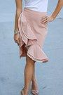White-leather-rebecca-minkoff-bag-peach-rayon-revolve-skirt