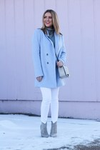sky blue wool blend ann taylor jacket - heather gray leather sam edelman boots