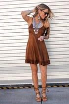 silver silver H&M necklace - bronze faux suede BCBGeneration dress