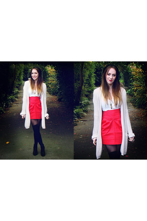 black Country Road boots - red Lara Parker skirt - eggshell CottonOn cardigan