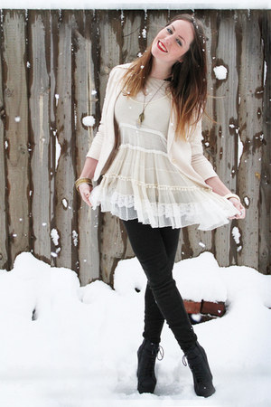 black Glassons boots - ivory vintage dress