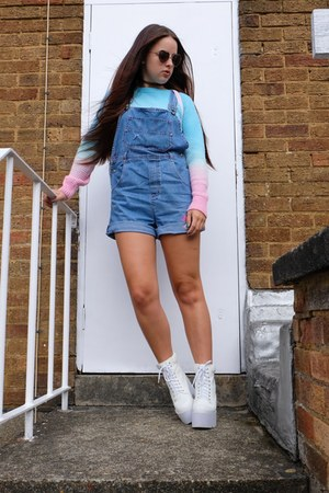 blue vintage House of Bricks romper - white platform Public desire boots