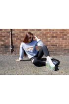 heather gray slogan Rad sweatshirt - silver platform YRU sneakers