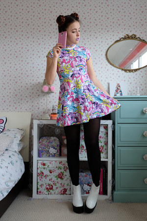 white platform Boohoo boots - bubble gum kawaii my little pony dress
