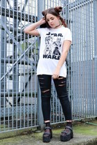 white star wars Primark top - silver lurex Topshop jacket