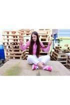 bubble gum blanc hi Palladium boots - white sequin Topshop jeans