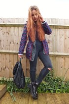 black chunky leather Topshop boots - red heart print brave soul coat