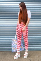 white tote Cute Dino Goods bag - red love heart Topshop jeans