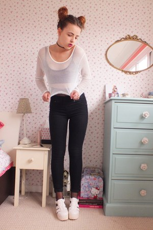 white mesh Boohoo top - white chunky TKmaxx shoes - black Matalan jeans