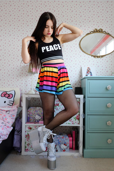 rainbow Boohoo shorts - silver platform YRU shoes - black crop Primark top